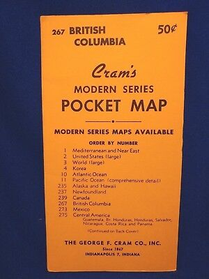 VTG 1950s CRAM'S MAP BRITISH COLUMBIA MODERN SERIES POCKET TRAVL MAP GEORGE CRAM