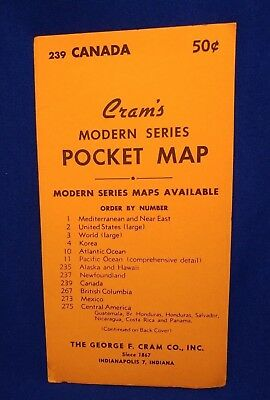 VTG 1950s CRAM'S MAP CANADA MODERN SERIES POCKET MAP TRAVEL GEORGE CRAM