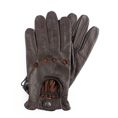 Men's Chauffeur Genuine Goatskin Leather Driving Gloves Dark Brown Chauffeuring