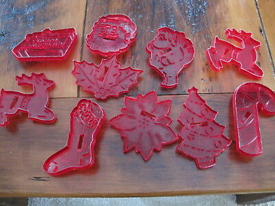 Lot of 10 Vintage HRM Clear Red Plastic Christmas Cookie Cutters