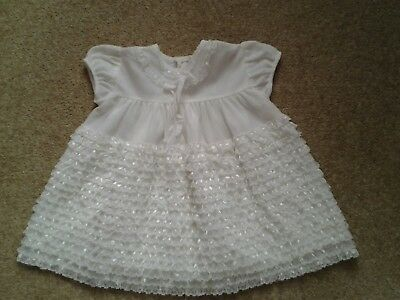 Vintage White Nylon and Lace Baby Dress  12-18 mths