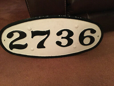 RARE Antique Cast Iron Railroad LOCOMOTIVE FRONT NUMBER  PLATE SIGN  Embossed