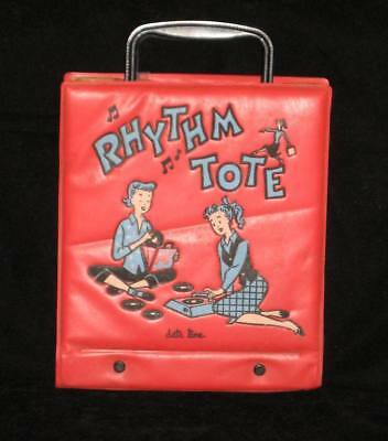 Vintage RHYTHM TOTE 45 rpm RECORD CARRY CASE red DATE LINE