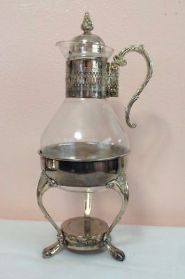 Vintage 4 Pc Silver Plate Glass  Coffee Decanter Pot Silver  Stand