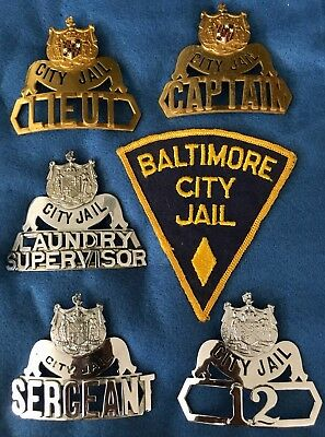 (5) Baltimore Maryland MD Badges & Patch - Full Rank Set (Authentic)