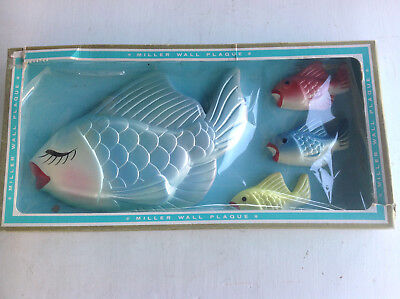 Vintage Chalkware Fish Large Fish and 3 Smaller Miller Studio New