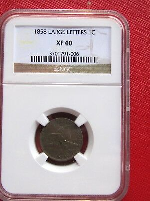 1858 LL Flying Eagle Cent, Graded XF 40 by NGC!