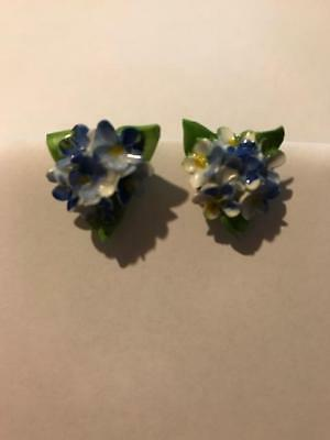 Vintage Bone China Screw On Earrings Signed Made In England