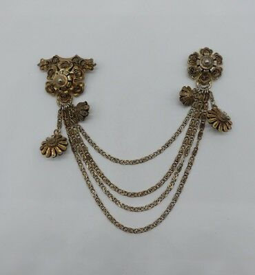 Antique CANNETILLE STERLING SILVER VERMEIL pin CHATELAINE CHAIN BROOCH charm vtg