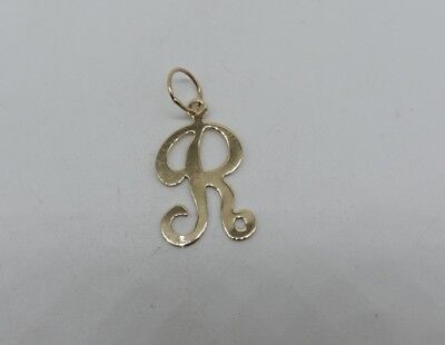 """14K Yellow Gold Initial Script letter R Charm Necklace Pendant 1"""" charm polished"""