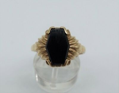 Antique Coffin Shaped Onyx VINTAGE ART DECO 10K Yellow Gold Gothic RING ESTATE 8