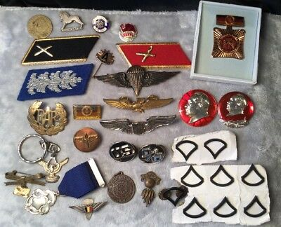 Antique Vintage Estate World Military Pin Badge Brooch Medal Lot