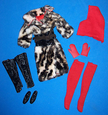 Vintage Francie Doll #1262 Complete Mod Dressy FUR-OUT Mini Coat Outfit 1966