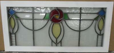 """OLD ENGLISH LEADED STAINED GLASS WINDOW TRANSOM Stunning Floral 34.25"""" x 16.25"""""""