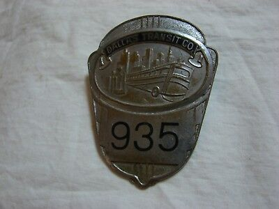 1950s Dallas Transit Co Bus Motormans Cap Badge #935
