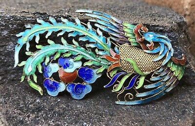 Vintage Old Chinese Export Gilt Silver Bird of Paradise Multi Enamel Pin Brooch