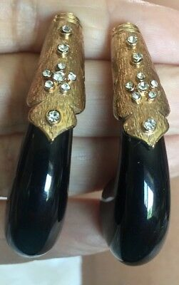 STUNNING VTG 80s 90s RUNWAY COUTURE GOLD CHUNKY BLACK LUCITE RHINESTONE EARRINGS