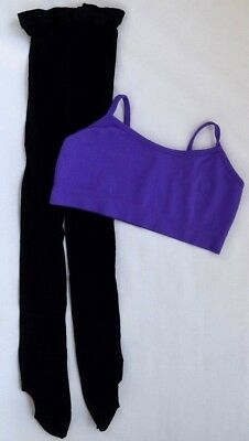 BALERA Purple Bra Top M/L + CAPEZIO Black Dance TIghts S/M Dancewear Kids Girls