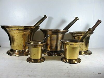 RARE 19th CENTURY SET OF 5 GRADUATING CAST IRON MORTAR & PASTLE BY CLARK & CO