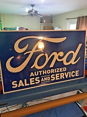 "FORD Authorized Sales & service Sign JUMBO 36x24""DISTRESSED VINTAGE LOOK NICE..."