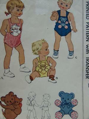 VTG 1946 McCall Pattern 1256 Toddler Sunsuit & Transfer Applique Koala & Teddy