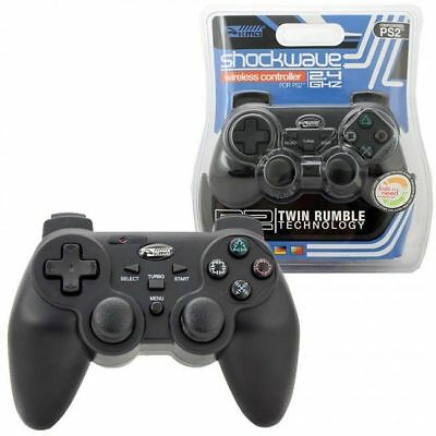 PS2 Wireless Shock-Wave Controller Black 2.4ghz PlayStation2 Gamepad hands-free
