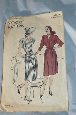 Vintage Vogue Pattern 5684 40s 50s  Dress Size 16