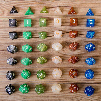 4B7A 7Pcs Acrylic Dice Full Set Polyhedral Dungeons Dragons Gaming Toy Party