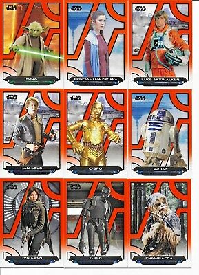 2018 Topps Star Wars Galactic Files COMPLETE ORANGE PARALLEL SET of (200) Cards