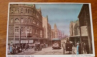 Postcard - Star Clrd In Print - King St. Sydney - Trams + Horse &carts In View