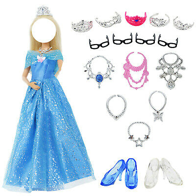 Princess Dress Ball Gown Party Fairy Tale Clothes Accessories For Barbie Doll U