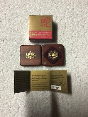 2013 $10 Proof Year of The Snake 1/10 oz Gold Coin