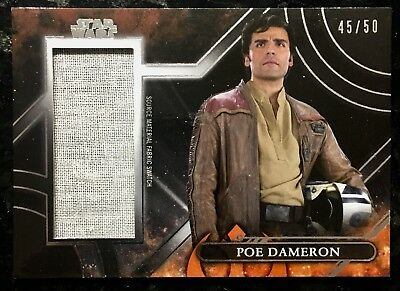 #/50 POE DAMERON Source Material Shirt Swatch Topps STAR WARS GALACTIC FILES
