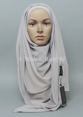 High Quality Chiffon Maxi Hijab Scarf Muslim Headcover Light Gray 180x70 cm