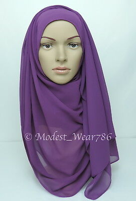 High Quality Chiffon Maxi Hijab Scarf Muslim Headcover Purple 180x70 cm