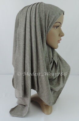 Premium Cotton Jersey Hijab Scarf Islam Muslim Headwear Heather Gray 170X55