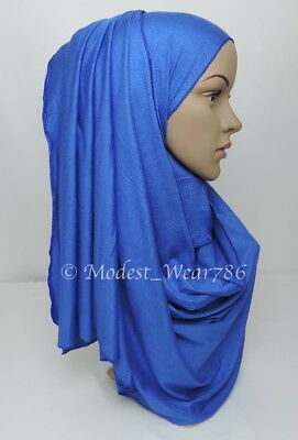Premium Cotton Jersey Hijab Scarf Islam Muslim Headwear Royal Blue 170X55