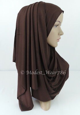 Premium Cotton Jersey Hijab Scarf Islam Muslim Headwear Chocolate Brown 170X55