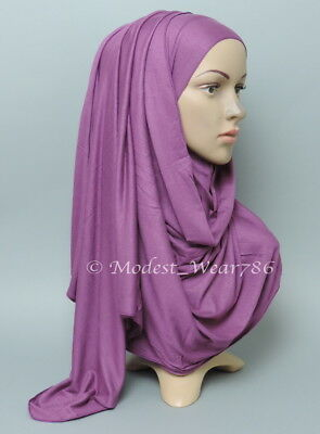 Premium Cotton Jersey Hijab Scarf Islam Muslim Headwear Light Purple 170X55