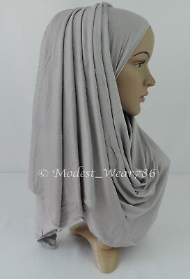Premium Cotton Jersey Hijab Scarf Islam Muslim Headwear Light Gray 170X55