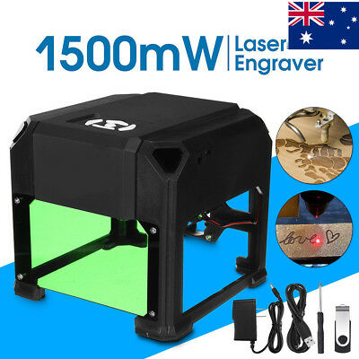 AU! 1500mW Mini Laser Engraver Printer Cutter Carver DIY Mark Engraving Machine