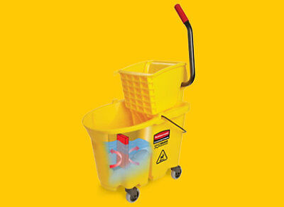 NEW Plastic Mop Bucket With Wringer, 35 Qt. Easy-to Clean, Long Lasting Quality