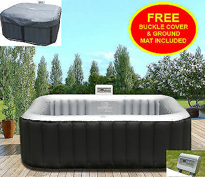 Heated Hot Tub-Jacuzzi Spa Outdoor Garden Inflatable Pool Square 4 Seater Person