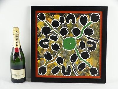 "Art Sale : Aboriginal Painting by Janie Karpa ""Bush Tucker"" with COA"