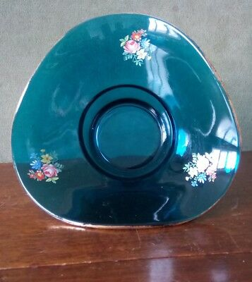 Vintage blue glass tricorn posy vase with gold rim and flowers