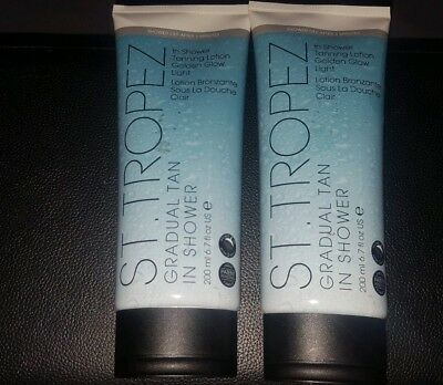 Two bottles St Tropez Gradual Tan Shower Tanning Lotion Golden Glow Light 200ml
