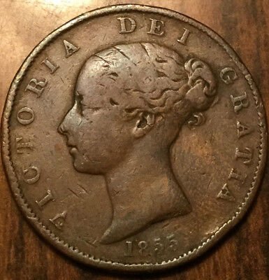 1855 UK GB GREAT BRITAIN VICTORIA HALFPENNY - Stained