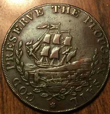 Uk Gb Great Britain God Preserve The Plouch And Sail Halfpenny Token