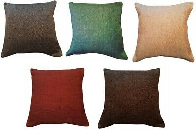 "JUTE CUSHION COVERS 17""x17"" SQUARE DECORATIVE SCATTER THROW WOVEN EFFECT ZIPPED"