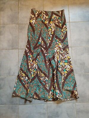 Vintage Cotton Maxi Skirt Patchwork Floral 1970s Vampires Wife Style S/M